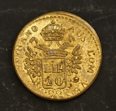 1800s, Italy/Lombardy–Venetia. Brass Coin-Wieght for a 20 Lire Coin. XF!