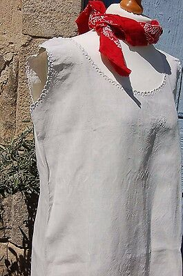"LOT 2 Vintage FRENCH XL Nightgowns Pure Floppy LINEN 44"" Monogram MC SHIFT Dress"