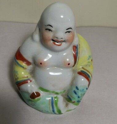 Vintage  China Famille Rose Porcelain Happy Laugh Buddha H8CM  small