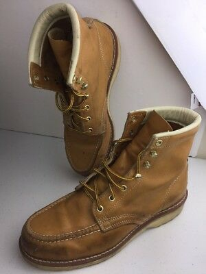 Sears Mens Steel Tip Safety Work Boots Size 9 D E189 Brown Leather Shoes