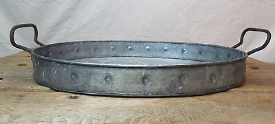 Vintage Large Farm Field Serving Tray Heavy Oval Galvanized Drink Food Carrier