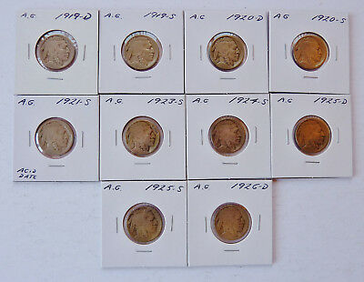 Lot Of 10 ~ Mixed Date 1919-1926 Buffalo Nickels ~ About Good Partial Date
