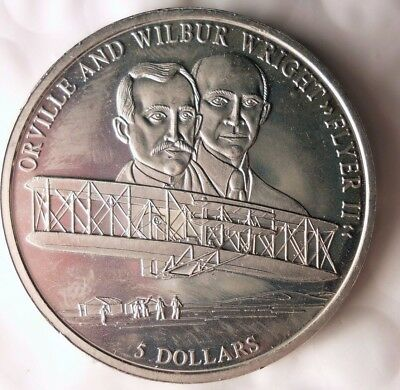 2000 LIBERIA 5 DOLLARS - WRIGHT BROTHERS  - Rare Exotic African Coin - Lot #D13