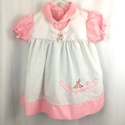 Vintage Baby Dress Pink White Embroidered Floral Bow Lace Collar
