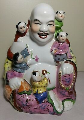 Vintage Chinese Laughing Buddha  hand painted porcelain with 5 Children H22cm