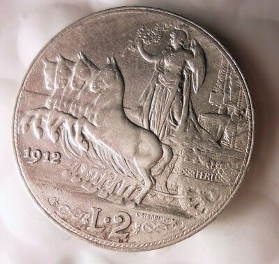 1912 ITALY 2 LIRE - RARE HIGH VALUE Excellent Silver Coin - Lot #D13