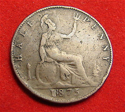 1875 Great Britain 1/2 Penny with Planchet Error---Extra Number in Date
