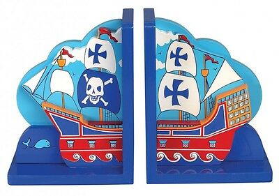 Children's wooden fairtrade bookends-Pirate Ship