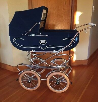 Vintage Italian  Perego  Baby Stroller Carriage-Navy Blue-Made in Italy, Pram