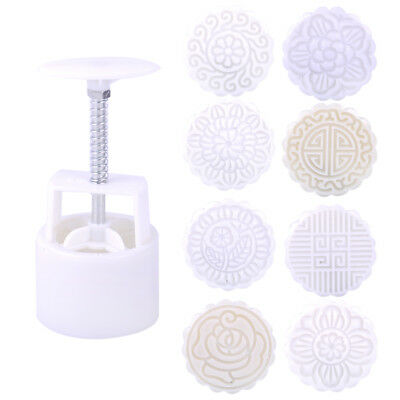 8 Flower Stamps Round Baking Mooncake DIY Mold Pastry Biscuit Cake Mould 75g