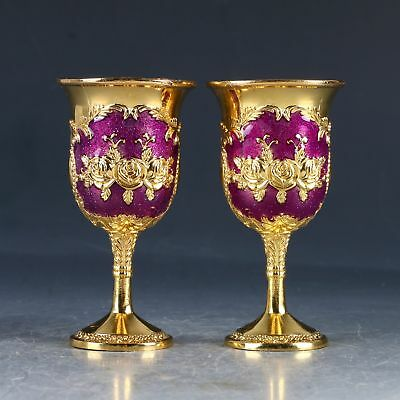 A Pair Chines Cloisonne Hand Carved Flower Cup PA0276