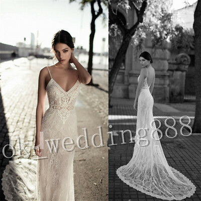 Wedding Dresses Beach Bridal Gowns Strapless Spaghetti Straps A Line Lace 2018