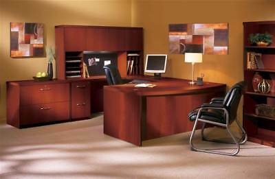Aberdeen Series 9 Pc Bow Front Desk Set in Cherry Finish [ID 51913]