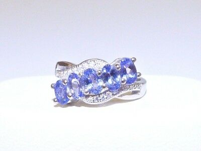 GENUINE! RARE 1.60cts! Tanzanite Oval Cut Ring Solid Sterling Silver 925!!