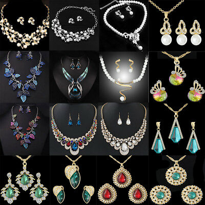 Lot Crystal Pearl Luxury Wedding Party Jewelry Chunky Necklace Earrings Set Gift