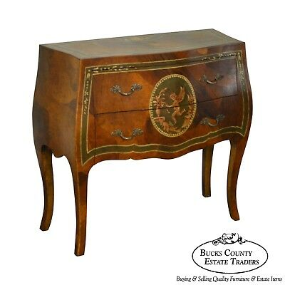 Italian Olive Wood Adams Painted Bombe Commode Chest