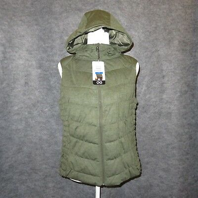 BE BY BLANC NOIR Women's Hooded Quilted Vest LARGE-X-LARGE Olive **NEW**