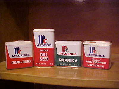 lot of 4 vintage McCormick spice tins mixed lot