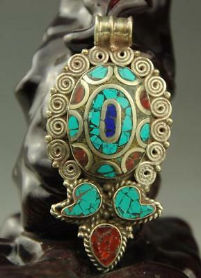 china Handwork  old  Tibet silver inlay  kallaite coral lapis lazuli pendant  ZA