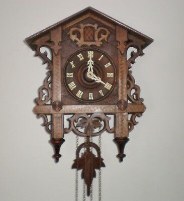 Antique Cuckoo Clock German, Railroad Station, 1910 Looks, Runs & Sounds Great