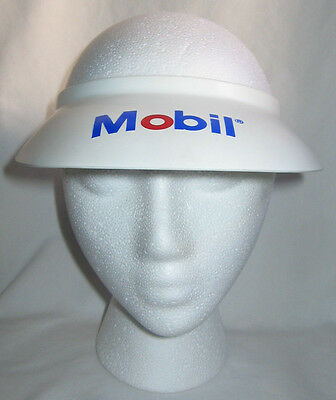 Vintage Mobil Gas Station Gasoline Oil Company Plastic Visor White Red Blue