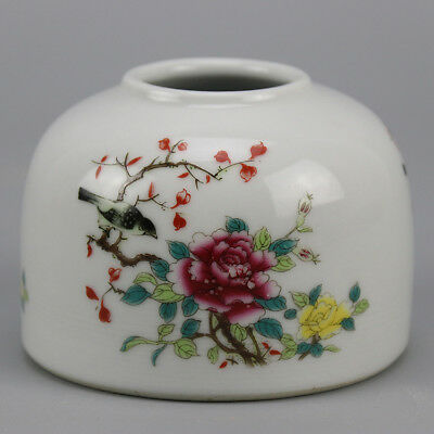 China porcelain famille rose glaze bird & flower pattern writing-brush washer