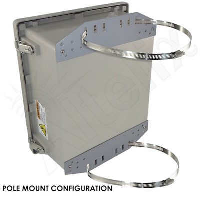 Altelix 14x12x8 Pole Mount Fiberglass NEMA 4X Box Enclosure with 120 VAC Power