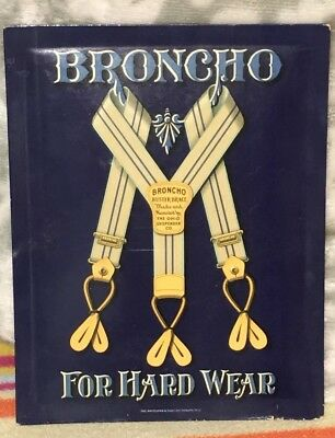 Crystaloid BRONCHO Suspender Advertising Display Sign Vintage Whitehead Hoag