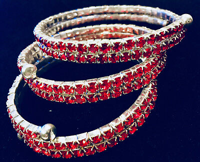 Three Pieces of Red Color Rhinestone Bangle Bracelet with Open End