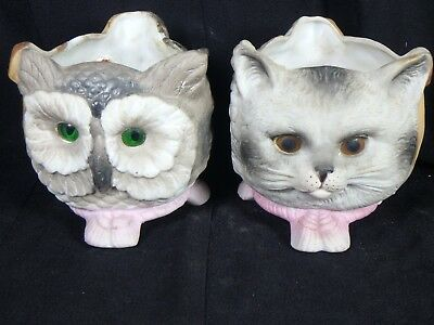Antique 19th Century Owl Cat Dog Fairy Lamp pair with Glass Eyes