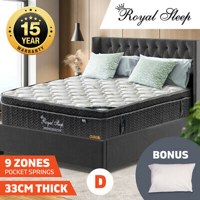 Double Mattress Euro Top 9 Zone Pocket Spring Cool Gel Memory Foam Bamboo 33cm