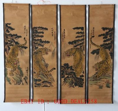 A Set Of 4 Pieces,Old Collection Scroll Chinese Painting/Four Tigers