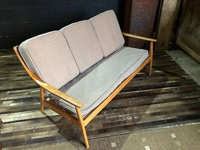 Mid Century 3 Seater Blonde Wooden Sofa With cushions
