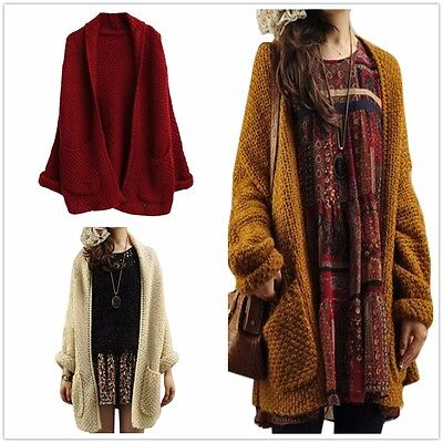 AU Womens Oversized Loose Knitted Sweater Batwing Sleeve Tops Cardigan Outerwear