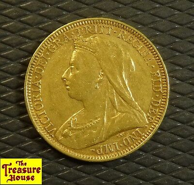 1894-M Great Britain Queen Victoria Melbourne One Sovereign 91.7% 22K Gold Coin