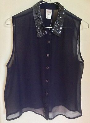 GIRL EXPRESS: Navy blue Size 12 sheer sleeveless top with sequinned collar (New)