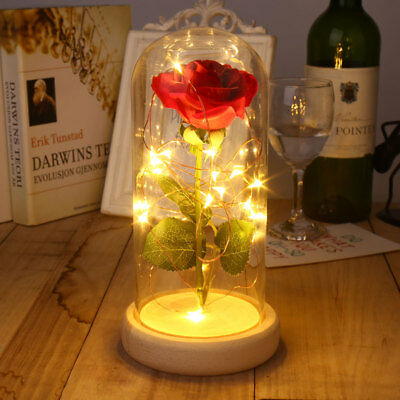 Floral Decor Rose Glass Cover Preserved Fresh Flower Glitter Glowing LED