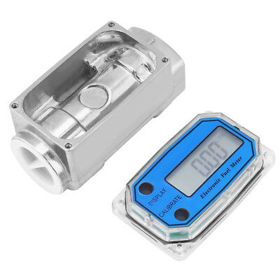 "New LED Digital Turbine Flow Meter Diesel Fuel Flowmeter 15-120L/Min 1""NPT Blue"