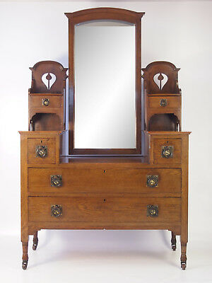 Antique Edwardian Arts & Crafts Dressing Table -Oak Mirror Back Chest of Drawers