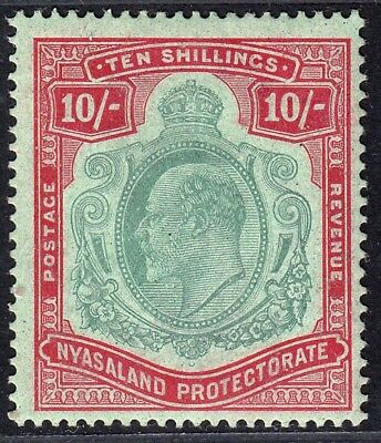 1908-11 Nyasaland Kevii 10/-  Green & Red  (Sg#80) Mh Vf