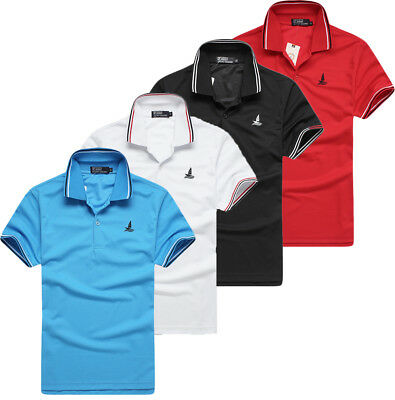 New Mens Polo Shirt Short Sleeve Plain Pique Top Designer Style Fit T Shirt Tee
