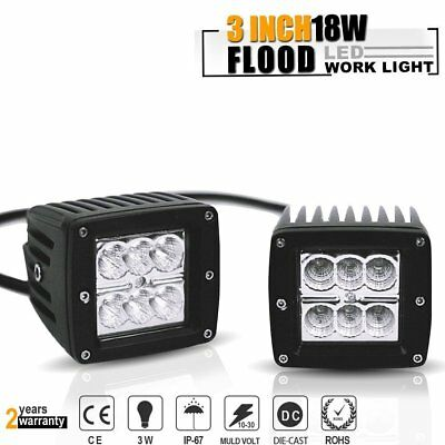 3X3 Inch 18W Flood Pods Cube Offroad Fog Lights Auxillary Reverse Backup Lights