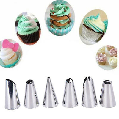 Silicone Icing Piping Cream Pastry Bag 6 Nozzle Set Cake Decor Baking Tools FO