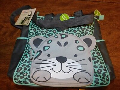 Baby Boom Tote Diaper Bag, Grey Cheetah Design, Changing Pad, New With Tags