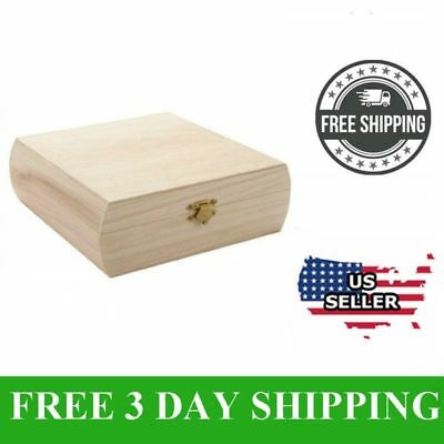 Wood Cigar Box Unfinished Pine Storage Vintage Gift Box Excellent Craft Project