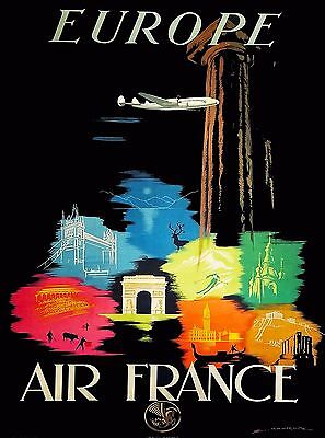 France by Airline Europe European Vintage Travel Advertisement Poster Print 2