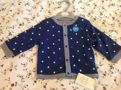 reversible cardigan, stars and stripes, 6-9 months, bnwt, mini club boots