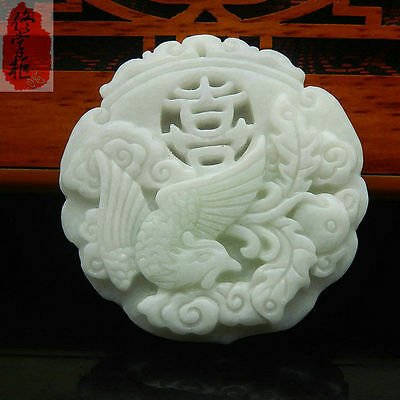 100% Chinese  natural old white Jade Carved Amulet Pendant Phoenix #02