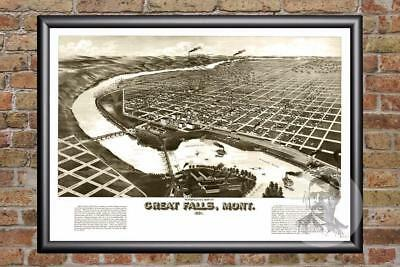 Vintage Great Falls, MT Map 1891 - Historic Montana Art Old Victorian Industrial