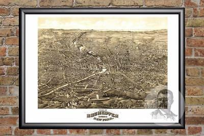 Vintage Rochester, NY Map 1880 - Historic New York Art Old Victorian Industrial